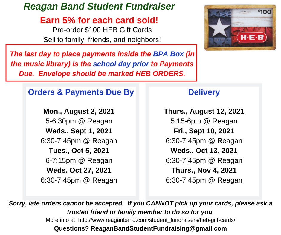 2021-22 HEB Gift Card Fundraiser